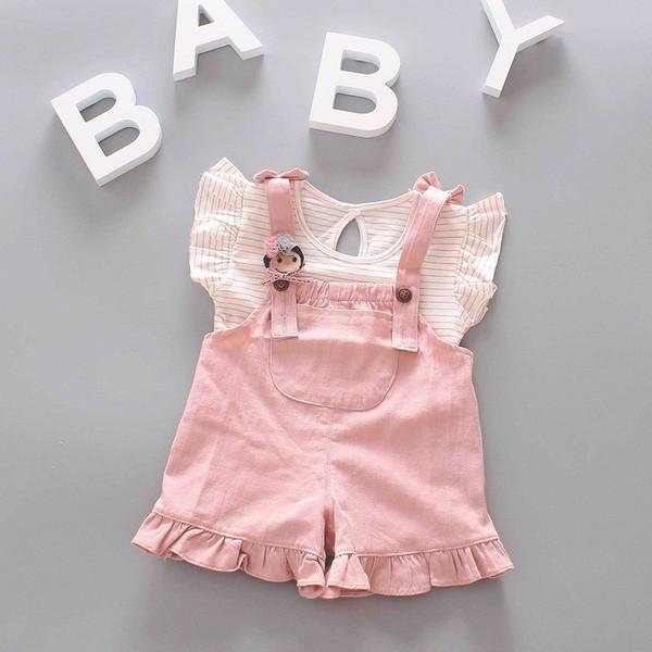 Baby Girls Stripe T-Shirt+Suspender Shorts Set Summer 2019 Kids Boutique Clothing Korean 1-3T Little Girls Ruffle Sleeves 2 PC Outfits