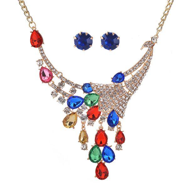 Peacock Feathers Design Enamel Crystal Leaves Leaf Girl Women's Necklace Pendants Stud Earrings Statement Necklace Jewelry Set
