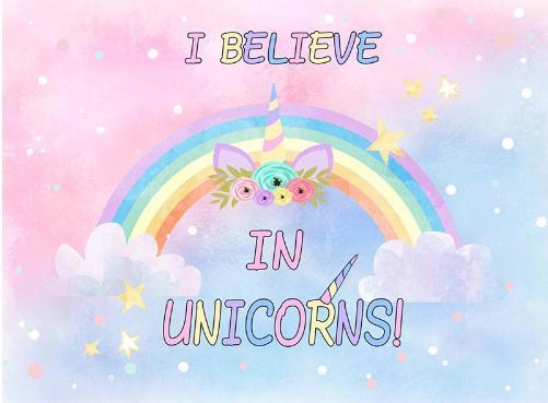 7x5FT I Believe in Unicorns Rainbow Gold Unicorn Horn Baby Shower Custom Photo Studio Backdrop Background Vinyl 220cm x 150cm