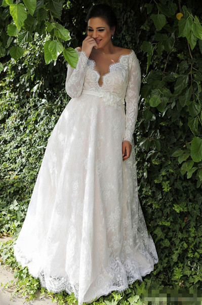 2019 Plus Size Wedding Dresses Sexy Deep V Neck Long Sleeves Lace Bridal Gowns with flowers Belt Summer Beach Formal Dress for Bride