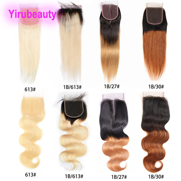 Brazilian Unprocessed Human Hair 613# 1B/27 Lace Closure 4X4 Straight 1B/613 Body Wave 4X4 Lace Closure 1B/30 Natural Color 8-18inch