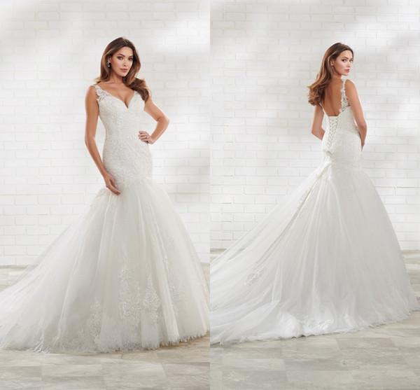 Vestido de novia de sirena de nueva llegada 2020 Cuello de pico con tirantes finos Lentejuelas con espalda abierta Apliques de encaje Diseñador Vestidos de novia de boda Nuevo