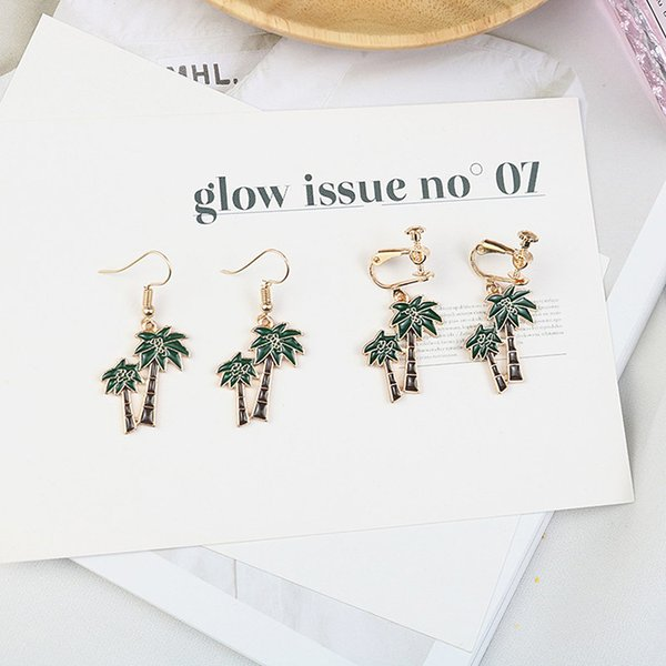 Fashion Elegant Coconut Palm Tree Drop Earring Summer Holiday Hawaii Plant Dangle Earring Beacht for Woman Girl Jewelry Gift