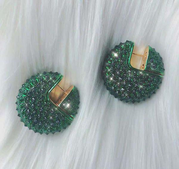 Europa und Amerika Heiße Mode Frauen Ohrringe Gelbgold Überzogene Voll CZ Ohrringe Creolen für Mädchen Frauen für Party Hochzeit