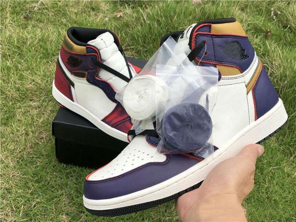 2019 New High 1 OG Defiant SB Lakers Light Bone Court Purple Black GOLD Retro Men Basketball Shoes Sneakers