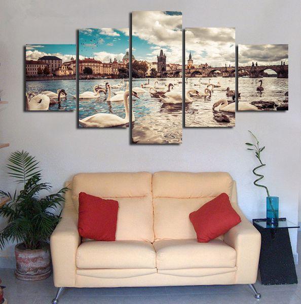 Acheter Blanc Cygnes Animaux 5 Panneaux Moderne Impression De Toile Oeuvre D Art Paysage Images Photo Art Peintures Unframed Mur De 13 67 Du