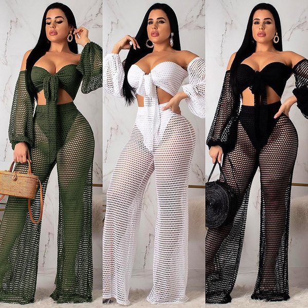 Summer Hollow Casual Suit Wrapped Chest Lantern Sleeves Top Shirt + Pantaloni gamba larga Outdoor Outfit 2Pcs / set Sexy Beachwear S-2XL HTS225