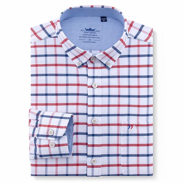 Chemise habillée boutonnée à rayures Oxford à manches longues pour hommes avec poche unique dans la poitrine 100% coton, chemises de travail de bureau Q190516