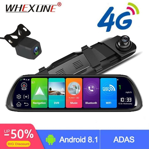 "whexune 4g android car dvr 10"" stream rear view mirror fhd 1080p adas dash cam camera video recorder auto registrar dashcam gps"