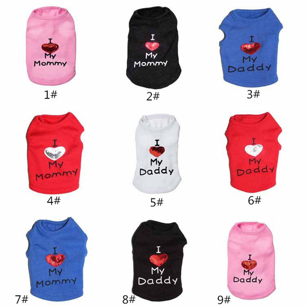 Pet Supplies Dog Apparel Pet Costume Vest Puppy Cats Coat Clothing Dog T-shirt French Bulldog Coat Jacket Cute I LOVE MY DADDY MOMMY