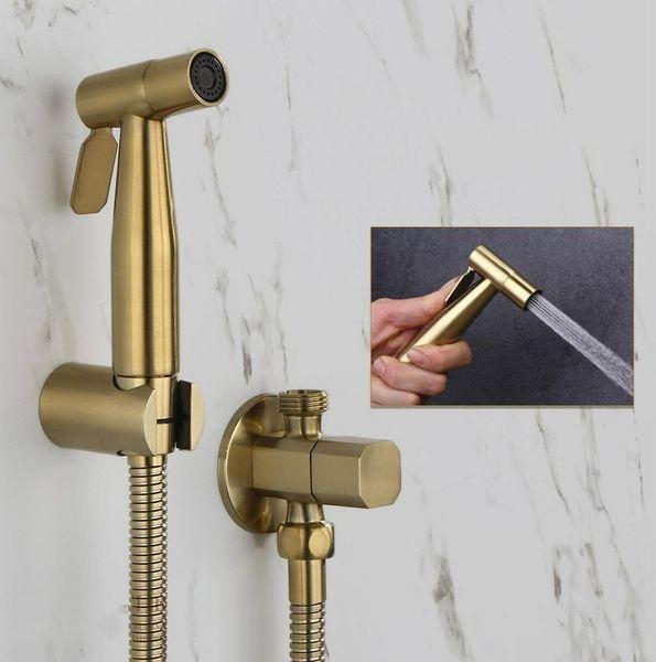best selling Stainless Steel Bathroom Toilet Bidet Sprayer w Dual Angle Valve Shower Hose 1.5m Brushed Gold