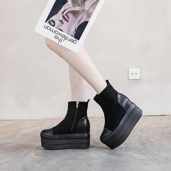Zapatos de plataforma mujer botines negro de invierno SONDR botines mujeres de alto tacón botas negras plataforma mujer cremallera Bota feminina