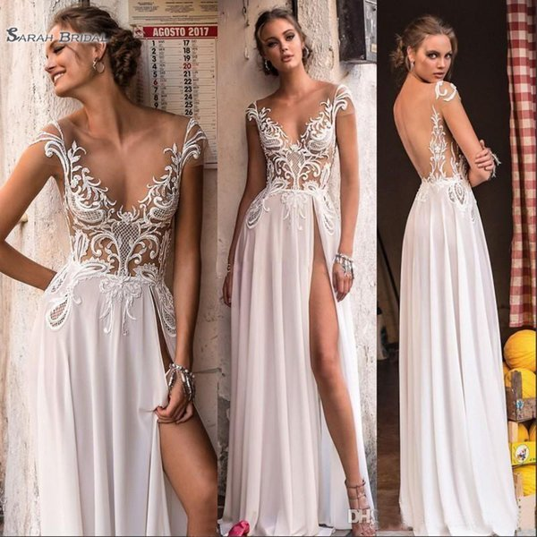 2019 High Split A-line Beach Wedding Dresses Sheer Cap Sleeve Backless Appliques Summer Boho Bridal Gowns