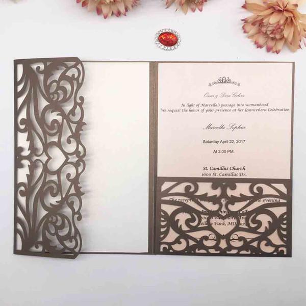 Lüks Zarif Hollow Kraliyet Taç Tasarım Katlanmış Lazer Kesim Inci kağıt Düğün Davetiyeleri doğum günü partisi Çok Renkli Ücretsiz Nakliye