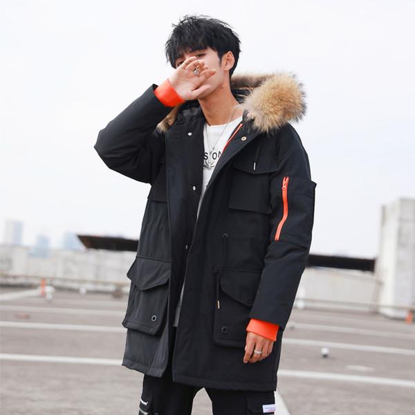 Giacca Tcyeek inverno degli uomini spessore caldo 90% piuma d'oca cappotto dell'uomo dei vestiti 2019 coreana Streetwear Moda pelliccia di procione Parka con cappuccio 02060