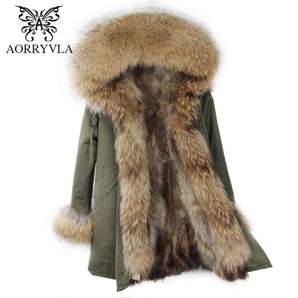 AORRYVLA 2017 Winter Women Hooded Fur Parka Natural Raccoon Fur Collar Hooded Long Coat Detachable Raccoon Liner Warm Jacket