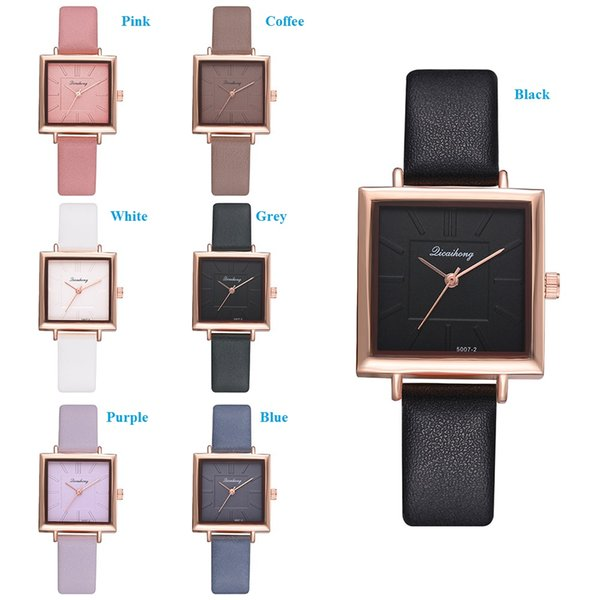 2019 small square case watch fashion women rose gold dial simple watch lady leather strap casual dress quartz wrist watches