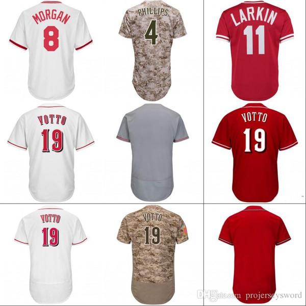 # 19 Joey Votto Forması Cincinnati Erkek 6 Billy Hamilton 4 Cliff Pennington 21 Michael Lorenzen 37 David Hernandez Beyzbol Formaları