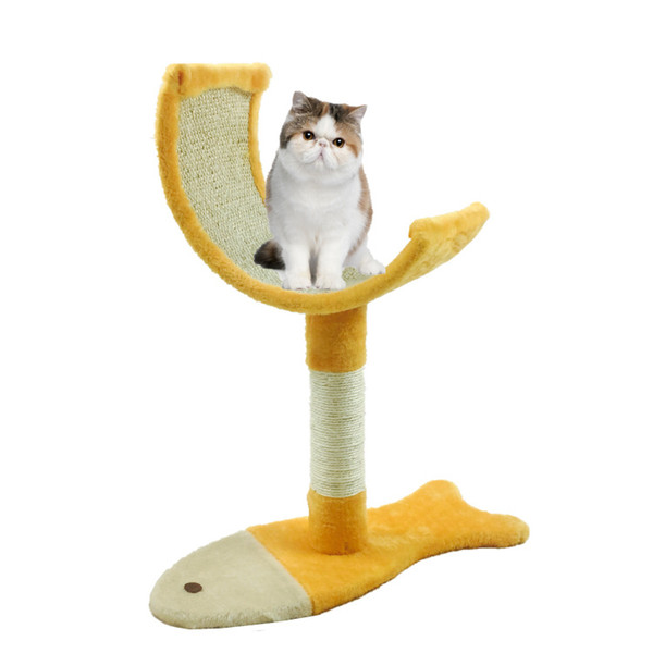 MD56 Fish Shape Sisal Pet Cat Furniture Scratch Toy home intuition cat tree with blue carpet pet play house bed suitable for big fat OEM&ODM