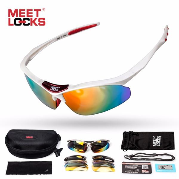 MEETLOCKS Sports Sonnenbrille Polarized Lens mit 5 Wechselobjektiven und verstellbarem Seil UV400 Protection Eye Goggles Cycling