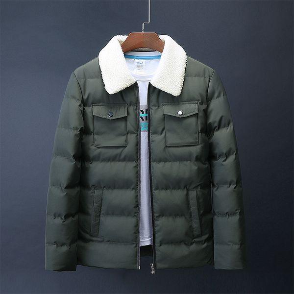 Men Winter Velvet Collar Jacket Fashion  Warm Down Parka Cotton Padded Male Coat for Drop Size M-4XL
