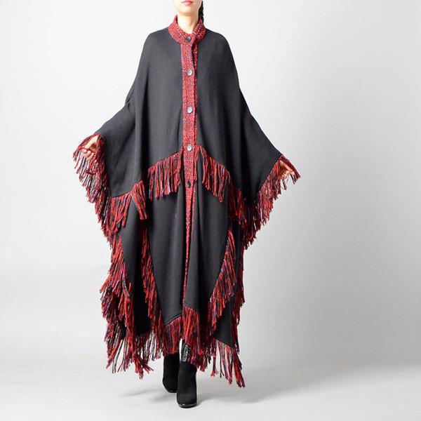 2018 Yeni Sonbahar Kış Moda Uzun Kollu Yuvarlak Yaka Tek Göğüslü Bölünmüş Ortak Püskül Gevşek Pelerin Ceket Kadın R094