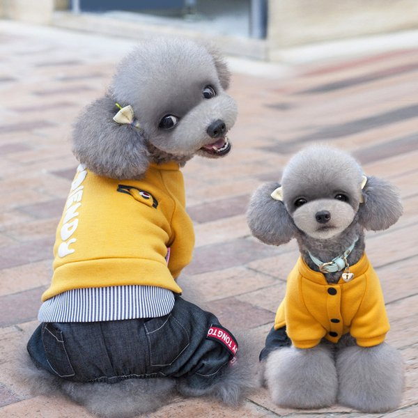 Pet dog clothes denim stitching four-legged clothes gold crown baby Teddy than bear VIP pet clothing simple and stylish