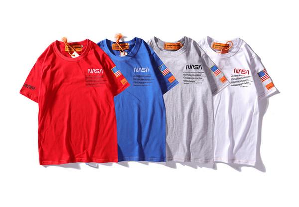 Heron Preston X NASA Tshirt Homens Adolescente Menino Roupas de Verão Bordado Designer de Camiseta Manga Curta Tees