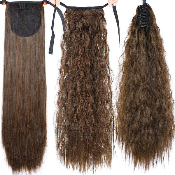 22 inç Uzun Afro Kıvırcık İpli At Kuyruğu Sentetik Postiş Pony Tail Saç Parça Kadınlar Için Sahte Bun Saç Klip Uzatma