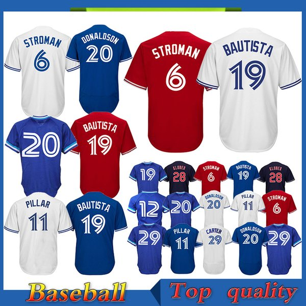 cheaper 8e9bb d7ae3 2019 TOP Toronto Blue Jays Baseball Jersey 19 Jose Bautista 29 Joe Carter 2  Troy 6 Marcus Stroman 12 Roberto Alomar 11 Kevin Pillar Jersey From ...