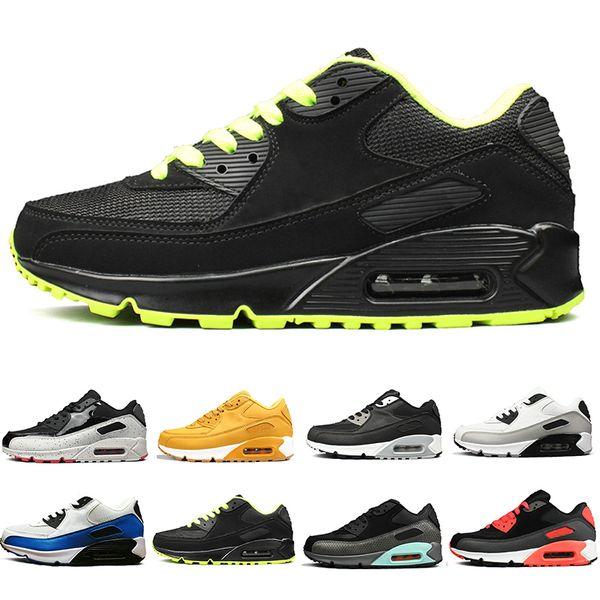 Yüksek Kalite Erkekler Kadınlar Için 90OG Koşu Ayakkabıları Üçlü Siyah Beyaz Kırmızı koşu Açık Erkek Eğitmenler Tasarımcı Spor Sneakers Boyutu 36-45 DANCE