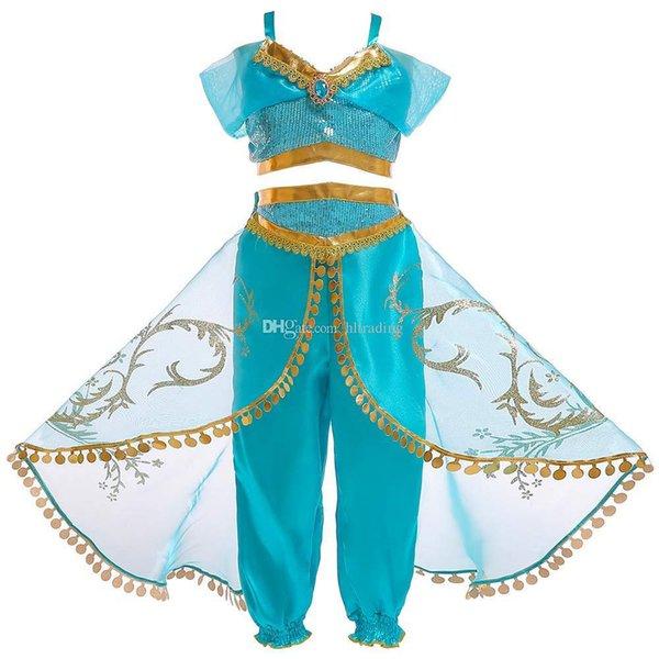 enfants vêtements griffés filles Aladdin Lampe Jasmine Princess tenues enfants Cosplay Costume dessin animé Enfants Fantaisie Robe Vêtements C6811
