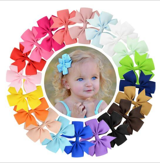 Popular 40 Colors Girl Hair Bows Candy Colors 3 inch Bow Design Girl Clippers Girls Hair Clips Hair Accessory