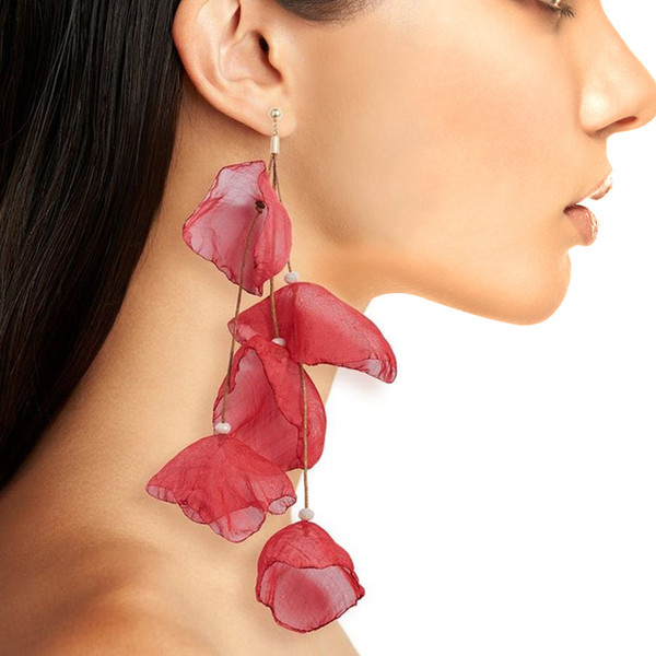 Chiffon Petal Dangle Earrings For Women Handmade Bohemian Jewelry BOHO Silk Leaf yarn flower earrings Fashion Jewelry