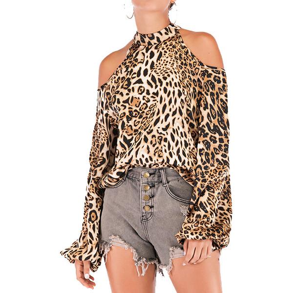 Leopard Sexy Frauen Tops Sexy Schulterfrei Druck-Leopard-T-Shirts für Frauen Halter Kragen Langarm T-Shirt Tops weiblich 2019 Autumn Tide