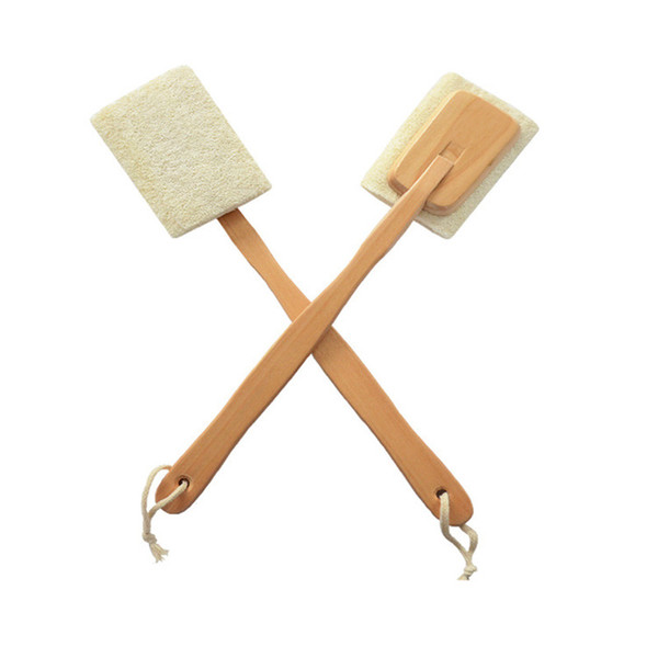 top popular Natural Loofah Brush Exfoliating Dead Skin Body Scrubber Loofah Brush with Long Detachable Wooden Handle Back Brush 2019