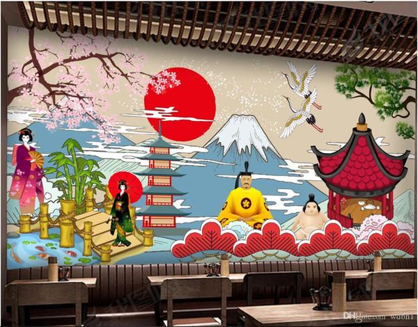3d wallpaper custom photo mural Vintage japanese style sushi restaurant japanese cuisine murals wallpaper 3d landscape wall tapestry 3d