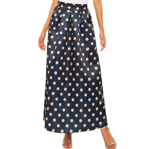 2019 New Hot Selling Summer New Style Skirt Women's Explosion Retro Print Big Swing Skirt Casual Dot A-Line Mid-Calf Natural