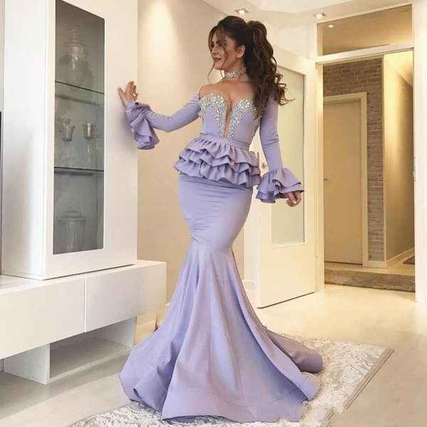 2019 New Sexy Lavender Mermaid Evening Dresses Wears keyhole Beaded Poet Sleeves Peplum Sweep Train Sexy Celebrity Long Party Prom Gowns