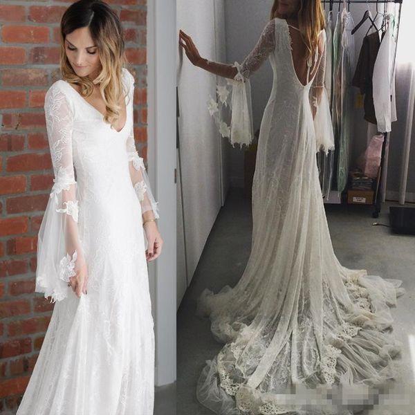 Vestidos románticos de boda bohemia Encaje completo Cuello en V profundo Manga larga Sin respaldo Capilla Tren Diosa griega Sirena Vestido de novia Novia