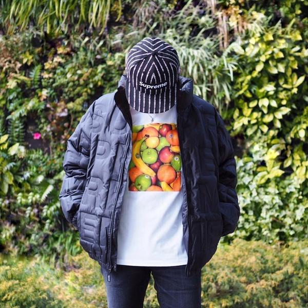 New19SS Fruit Tee Pequeño logotipo de impresión de manga corta Algodón de moda Hombres y mujeres Pareja Tamaño de EE. UU. Camiseta HFSSTX148