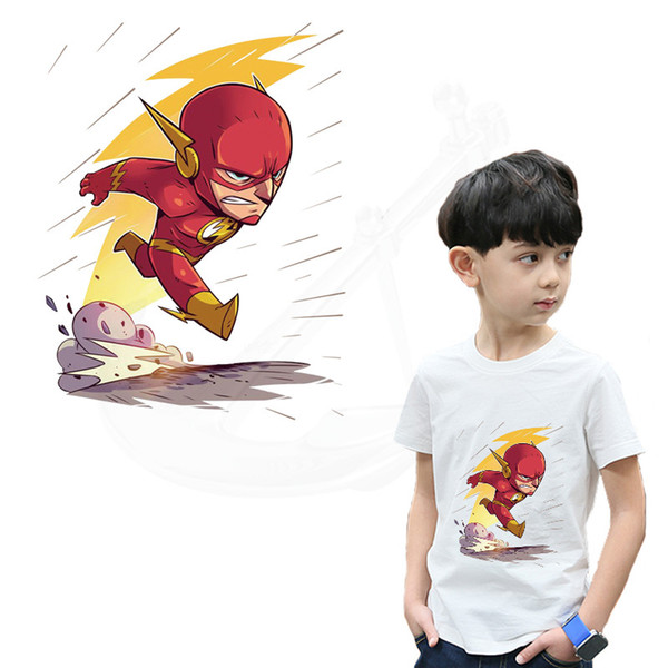 New The Flash patches for clothing Cartoon children's DIY T-shirt clothing patches 26.5*10.5 cm thermal transfe sticker