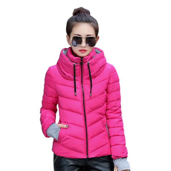 New Girls Winter Jacket Women Cotton Short Jacket Padded Slim Hooded Warm Parkas Stand Collar Coat Female Autumn Outerwear