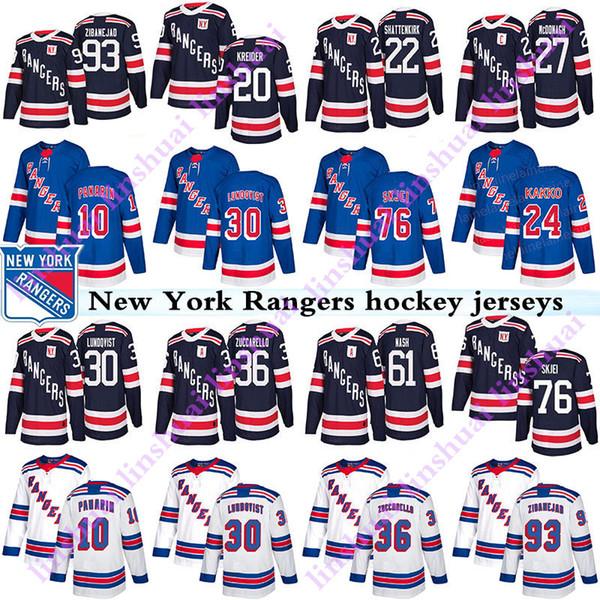 Nova Iorque rangers jersey 10 Artemi Panarin 24 Kaapo Kakko 30 Henrik Lundqvist 36 Mats Zuccarello 76 Brady Skjei Chris Kreider camisas de hóquei