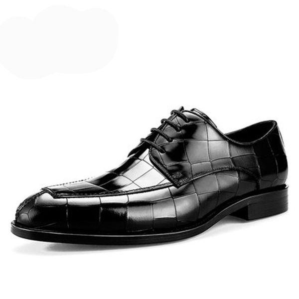 Sapatos masculinos de couro dos homens calçados jacaré dos homens apontou lazer negócio de couro Britânico casamento com franjas