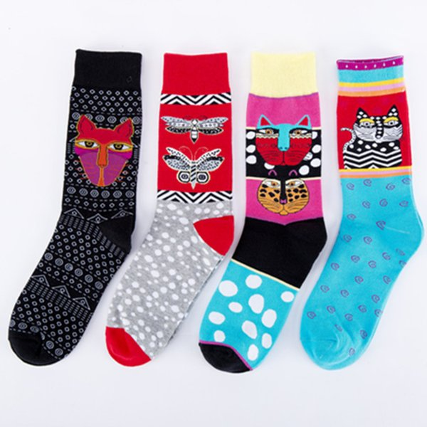 PEONFLY Neue Druck Bunte Cartoon Kitty Schmetterling Polka Dot Muster Männer Socken Persönlichkeit Mode Baumwolle Socken Herbst Winter