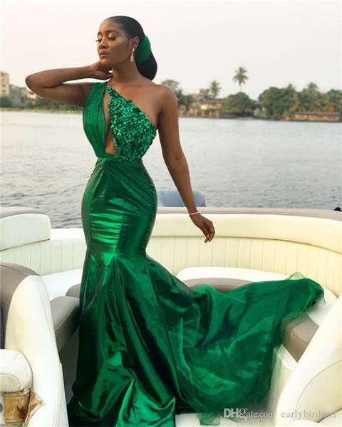 Vestido de fiesta de sirena de cristal Dreen sexy Vestido de noche de un hombro brillante vintage Vestidos de dama de honor de fiesta formal africana de lujo Tallas grandes