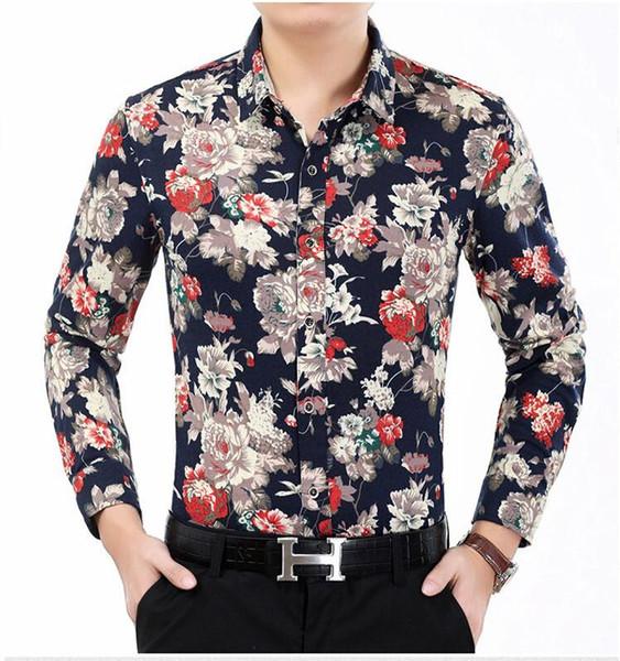 camisa moda manga de hombres nueva otoño los 2017 flor de camisa la de de llegada Aq7BIw86