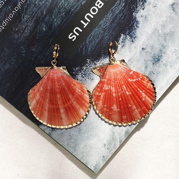 2019 Beach Shell Conch Hoop Earrings Vacation Bohemia Earrings for Women Colorful Geometric Jewelry Ethnic Jewellry Wholesale