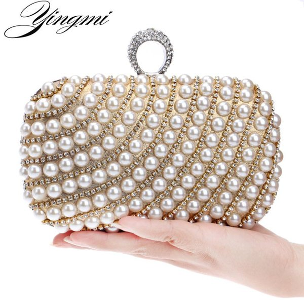YINGMI Pearl diamond-studded evening bag evening bag with a diamond women's rhinestone day clutch female wedding/party bags